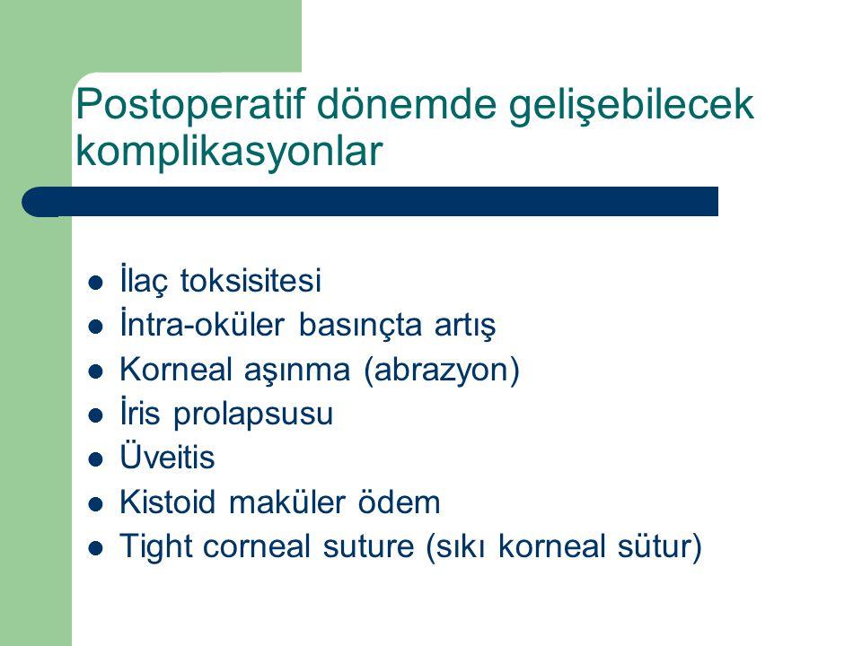 Postoperatif dönemde gelişebilecek komplikasyonlar