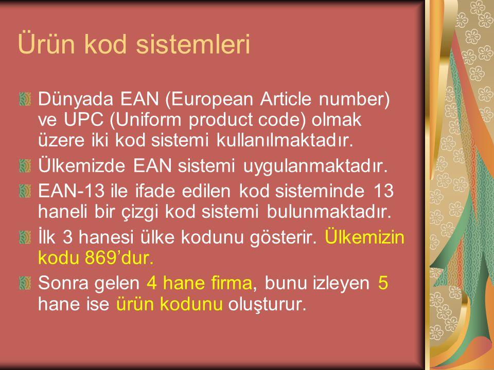 Ürün kod sistemleri Dünyada EAN (European Article number) ve UPC (Uniform product code) olmak üzere iki kod sistemi kullanılmaktadır.