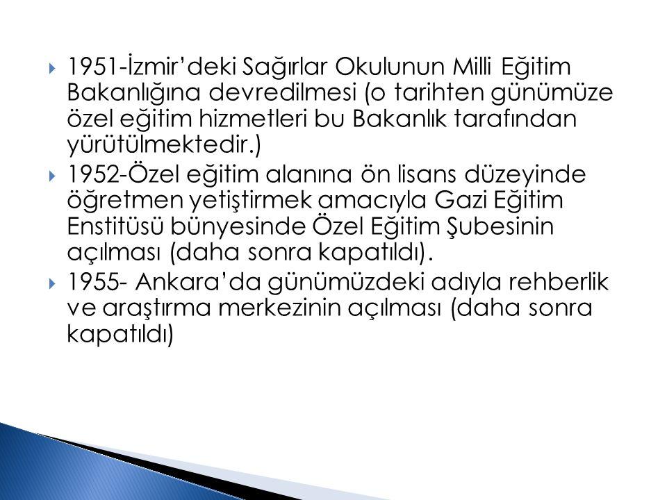 1951-İzmir'deki Sağırlar Okulunun Milli Eğitim Bakanlığına devredilmesi (o tarihten günümüze özel eğitim hizmetleri bu Bakanlık tarafından yürütülmektedir.)