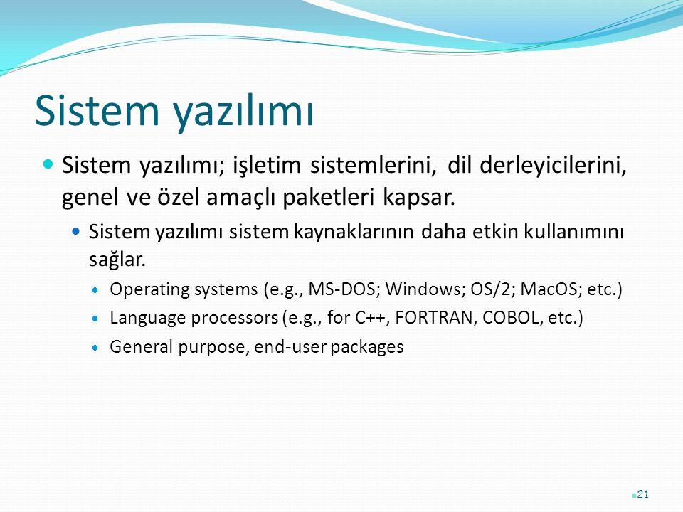 Sistem yazılımı Sistem yazılımı; işletim sistemlerini, dil derleyicilerini, genel ve özel amaçlı paketleri kapsar.