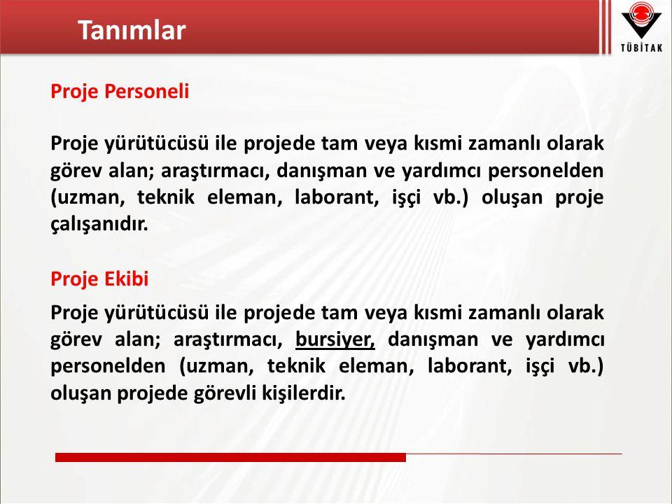 Tanımlar Proje Personeli