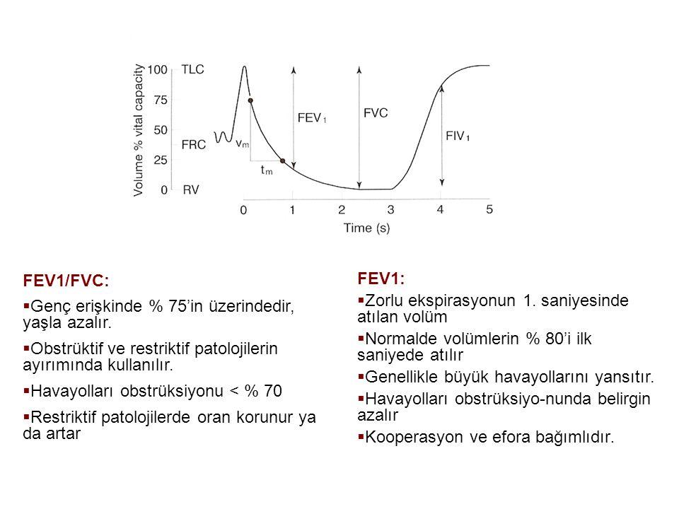 FEV1/FVC: Genç erişkinde % 75'in üzerindedir, yaşla azalır. Obstrüktif ve restriktif patolojilerin ayırımında kullanılır.