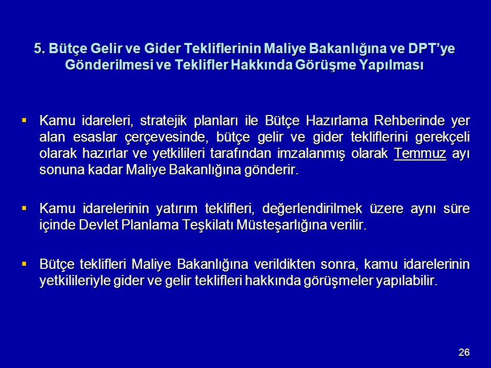 5. Bütçe Gelir ve Gider Tekliflerinin Maliye Bakanlığına ve DPT'ye Gönderilmesi ve Teklifler Hakkında Görüşme Yapılması