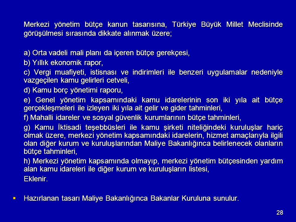 Merkezi yönetim bütçe kanun tasarısına, Türkiye Büyük Millet Meclisinde görüşülmesi sırasında dikkate alınmak üzere;