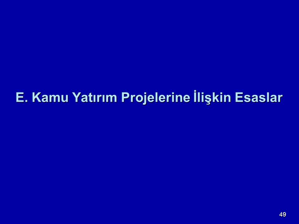 E. Kamu Yatırım Projelerine İlişkin Esaslar