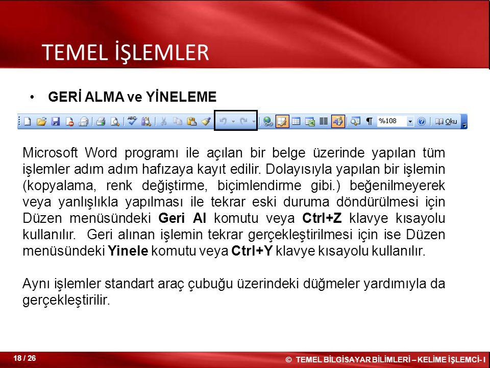 TEMEL İŞLEMLER GERİ ALMA ve YİNELEME