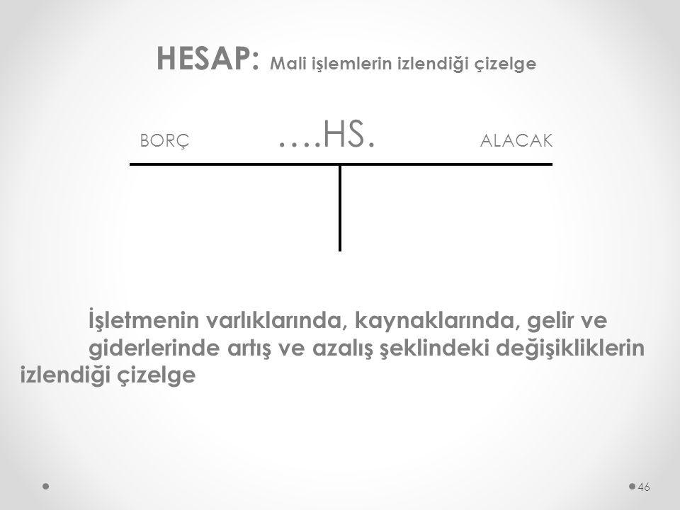 HESAP: Mali işlemlerin izlendiği çizelge