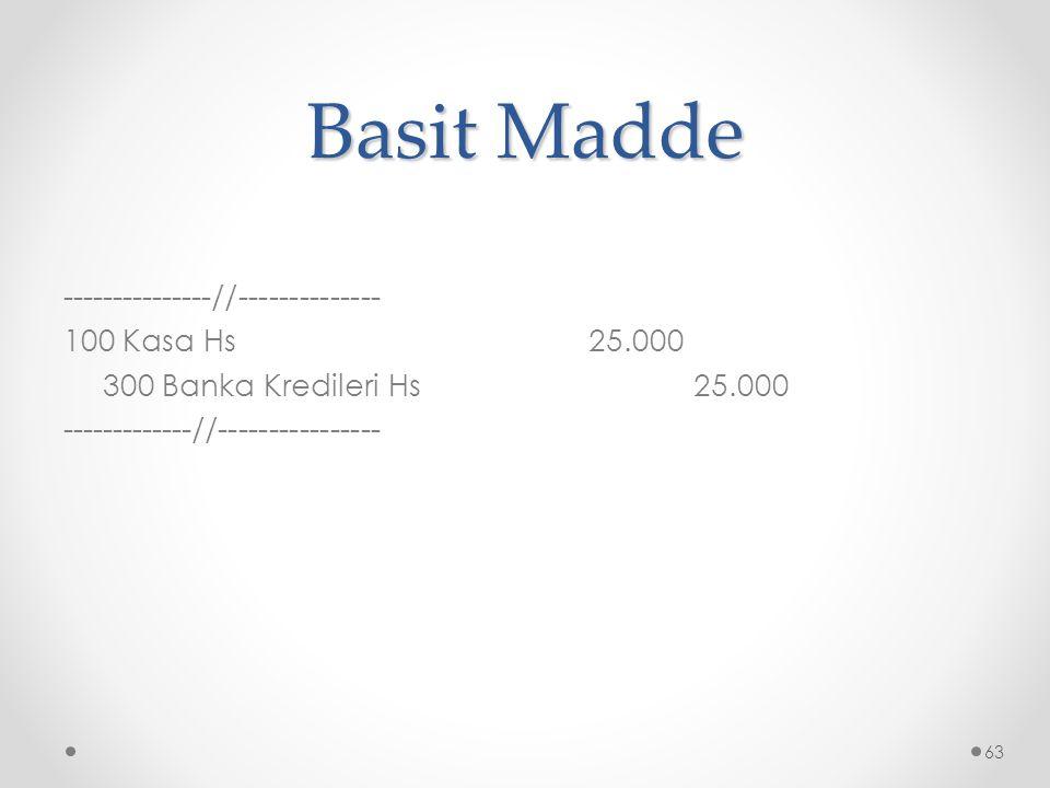 Basit Madde ---------------//-------------- 100 Kasa Hs 25.000 300 Banka Kredileri Hs 25.000 -------------//----------------