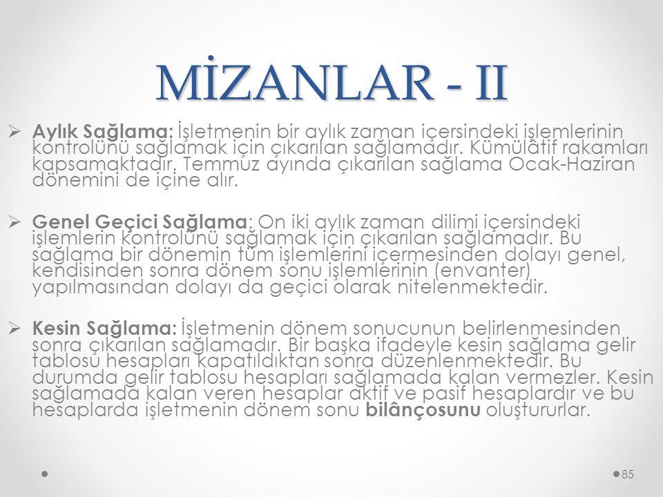 MİZANLAR - II