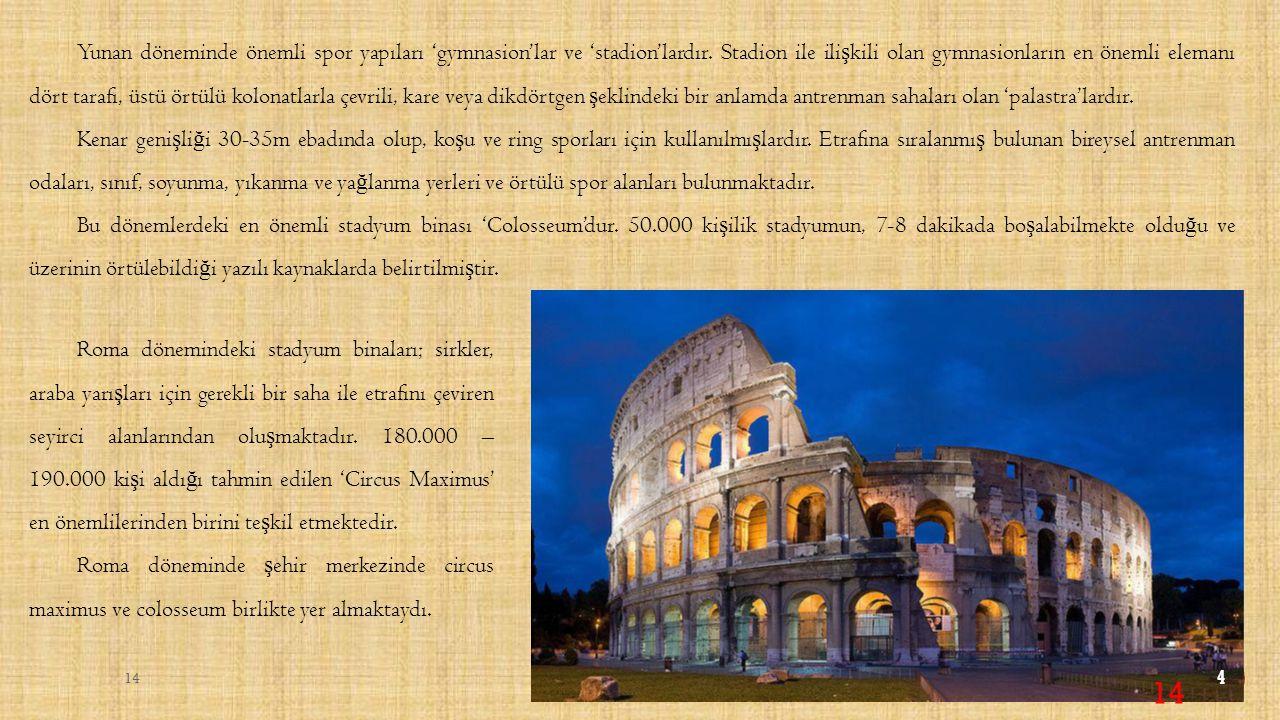 Yunan döneminde önemli spor yapıları 'gymnasion'lar ve 'stadion'lardır