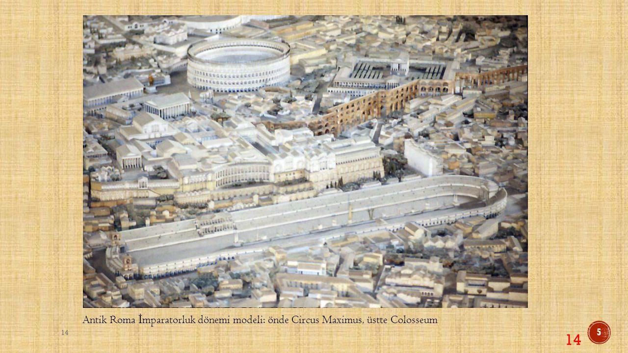 Antik Roma İmparatorluk dönemi modeli: önde Circus Maximus, üstte Colosseum