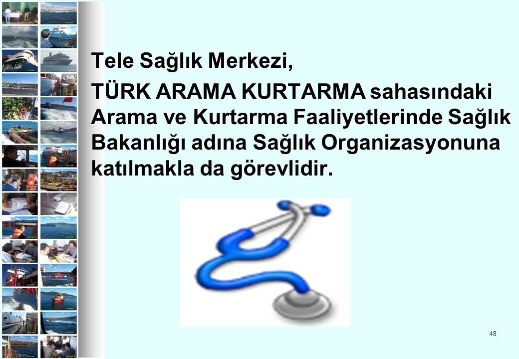 Tele Sağlık Merkezi, TÜRK ARAMA KURTARMA sahasındaki Arama ve Kurtarma Faaliyetlerinde Sağlık Bakanlığı adına Sağlık Organizasyonuna katılmakla da görevlidir.