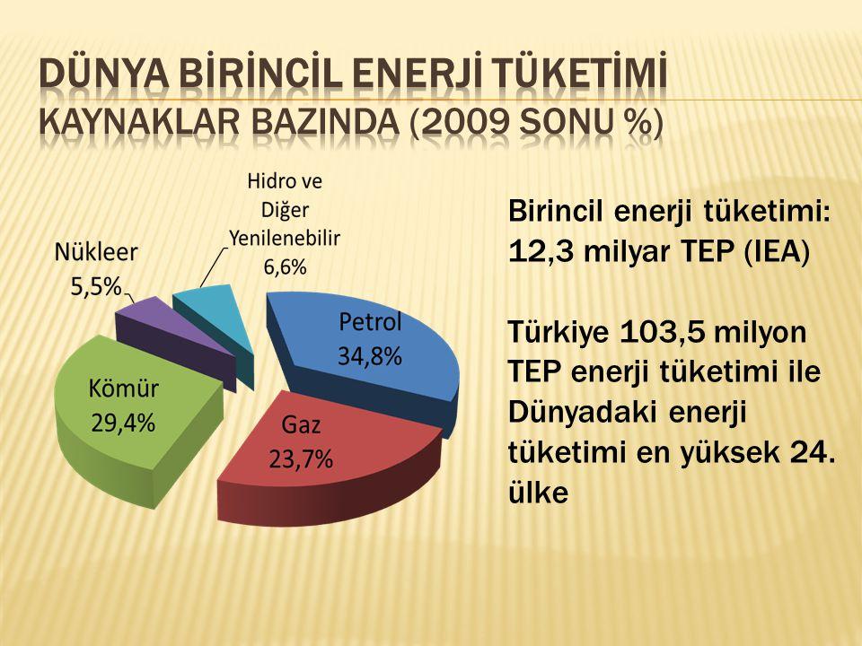 Dünya Bİrİncİl Enerjİ Tüketİmİ Kaynaklar BazInda (2009 sonu %)
