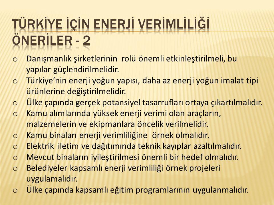 TÜRKİYE İÇİN ENERJİ VERİMLİLİĞİ ÖNERİLER - 2