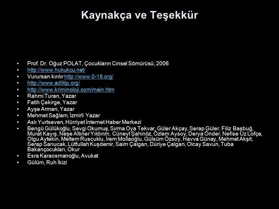 Kaynakça ve Teşekkür Prof. Dr. Oğuz POLAT, Çocukların Cinsel Sömürüsü, 2006. http://www.hukukcu.net/