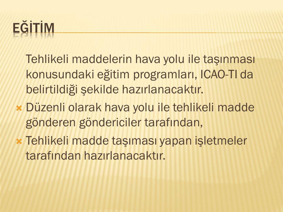 EĞİTİM Tehlikeli maddelerin hava yolu ile taşınması konusundaki eğitim programları, ICAO-TI da belirtildiği şekilde hazırlanacaktır.