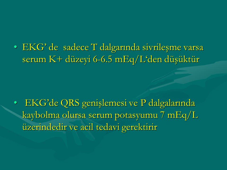 EKG' de sadece T dalgarında sivrileşme varsa serum K+ düzeyi 6-6