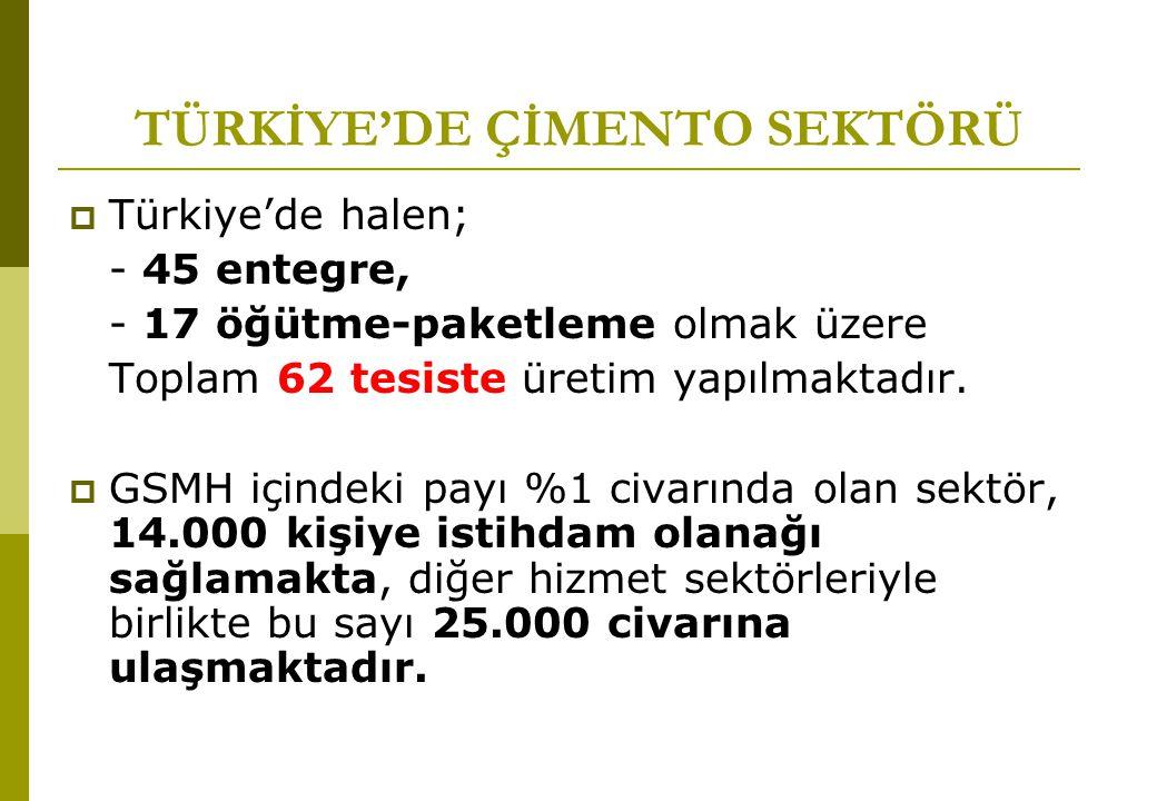 TÜRKİYE'DE ÇİMENTO SEKTÖRÜ
