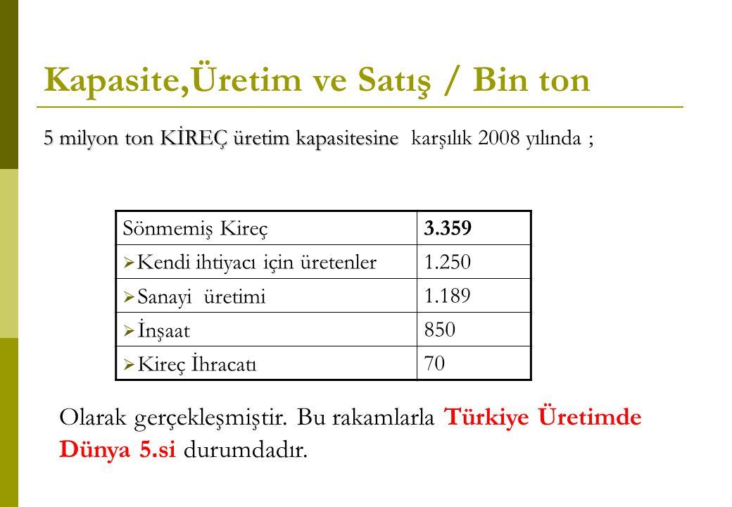 Kapasite,Üretim ve Satış / Bin ton