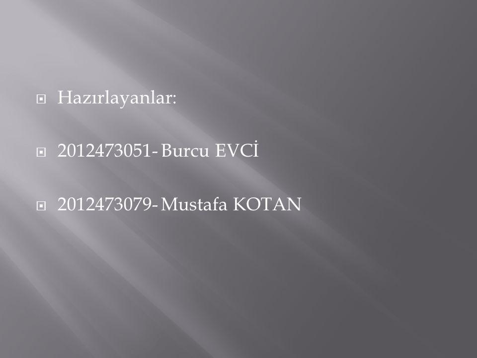 Hazırlayanlar: 2012473051- Burcu EVCİ 2012473079- Mustafa KOTAN