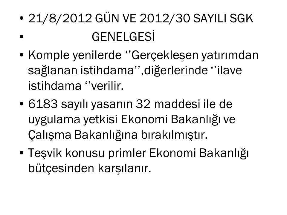 21/8/2012 GÜN VE 2012/30 SAYILI SGK GENELGESİ.