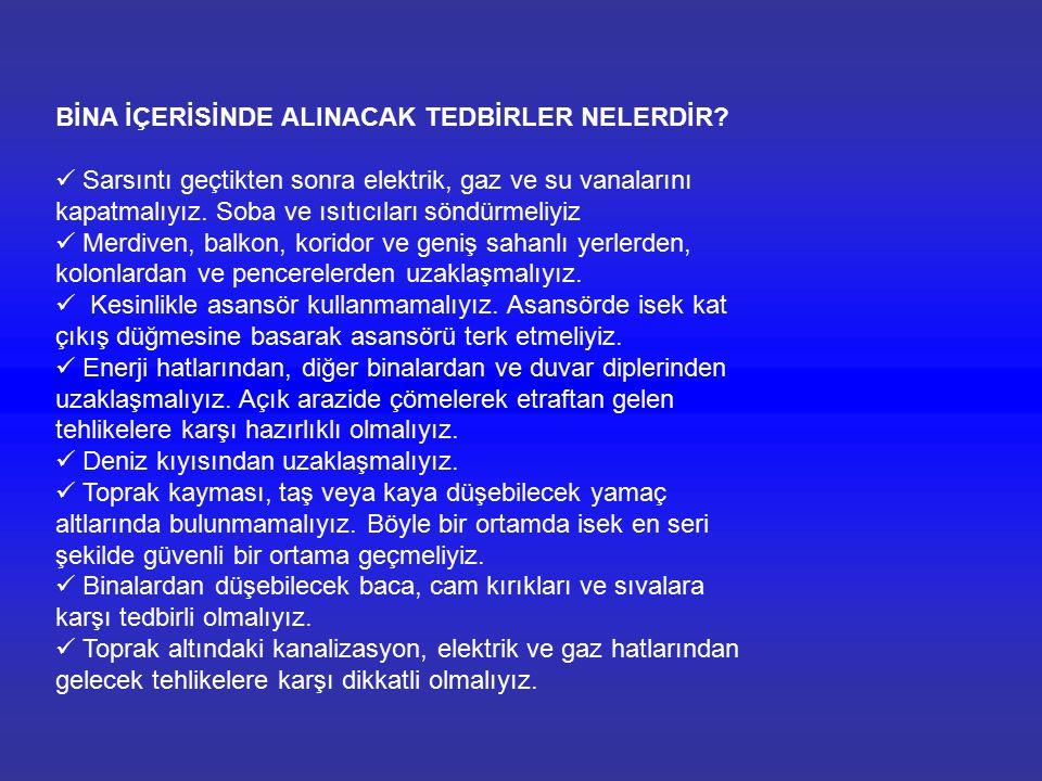 BİNA İÇERİSİNDE ALINACAK TEDBİRLER NELERDİR