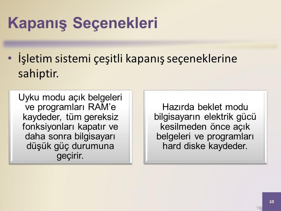 Kapanış Seçenekleri İşletim sistemi çeşitli kapanış seçeneklerine sahiptir.