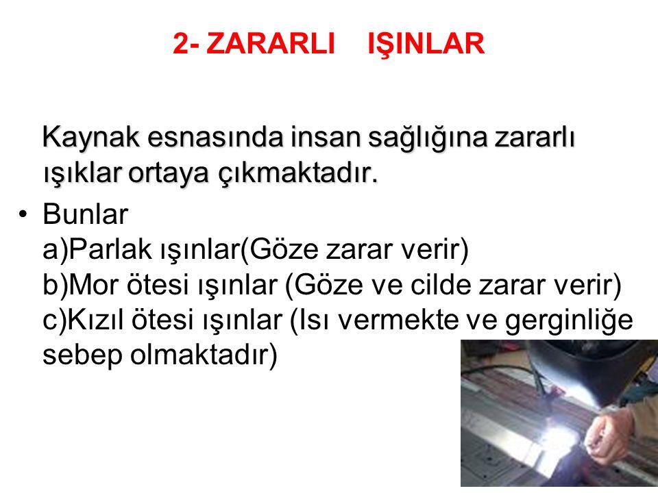 2- ZARARLI IŞINLAR Kaynak esnasında insan sağlığına zararlı ışıklar ortaya çıkmaktadır.
