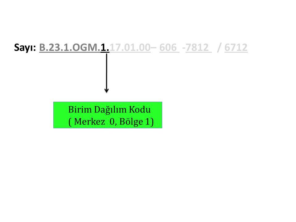 Sayı: B.23.1.OGM.1.17.01.00– 606 -7812 / 6712 Birim Dağılım Kodu