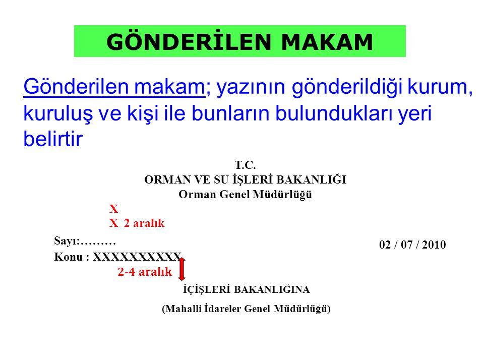 ORMAN VE SU İŞLERİ BAKANLIĞI (Mahalli İdareler Genel Müdürlüğü)