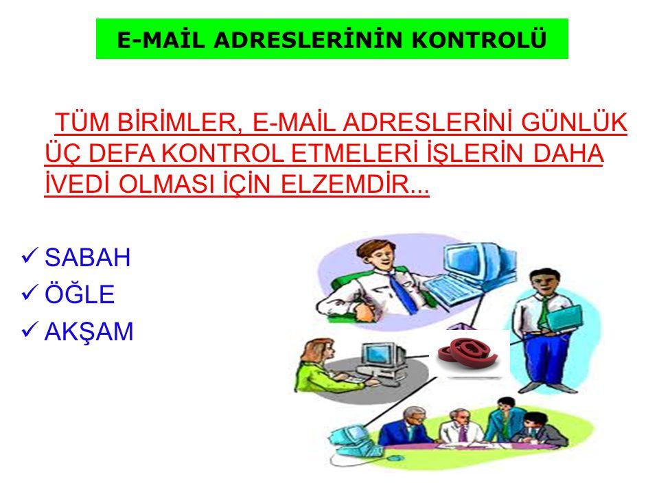E-MAİL ADRESLERİNİN KONTROLÜ