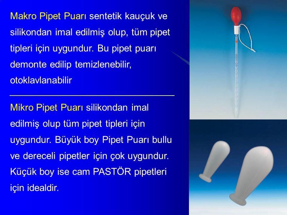 Makro Pipet Puarı sentetik kauçuk ve silikondan imal edilmiş olup, tüm pipet tipleri için uygundur. Bu pipet puarı demonte edilip temizlenebilir, otoklavlanabilir