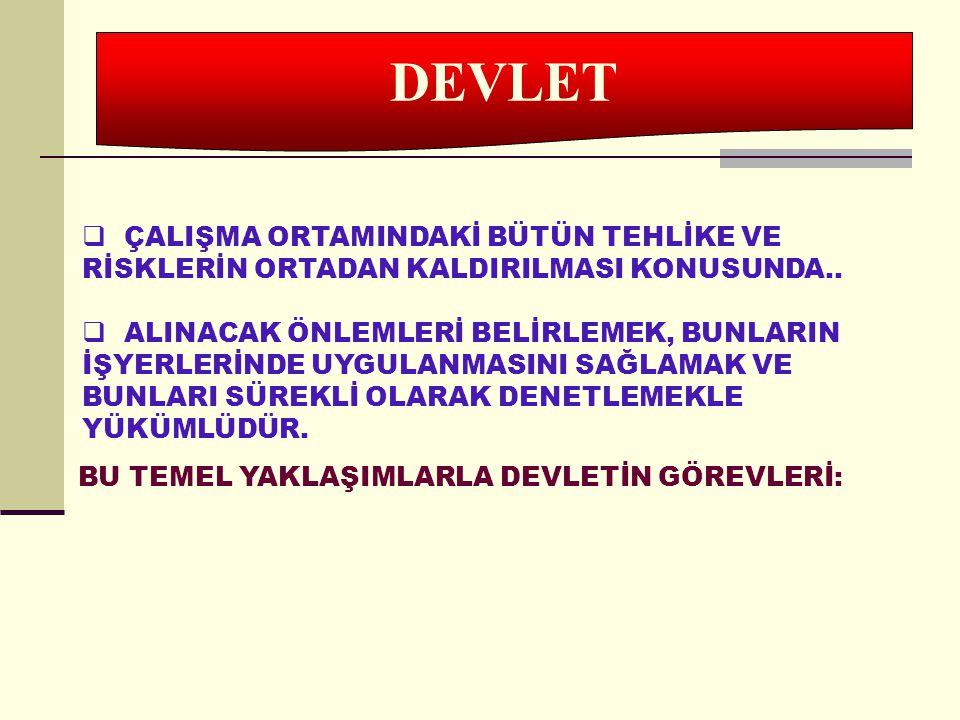 DEVLET ÇALIŞMA ORTAMINDAKİ BÜTÜN TEHLİKE VE RİSKLERİN ORTADAN KALDIRILMASI KONUSUNDA..