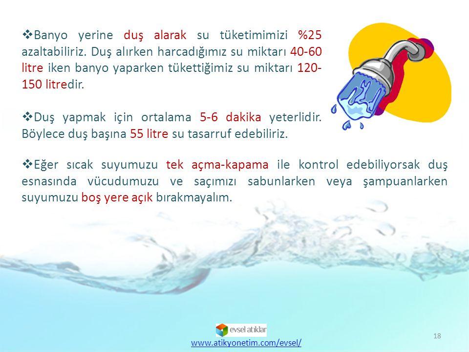 Banyo yerine duş alarak su tüketimimizi %25 azaltabiliriz