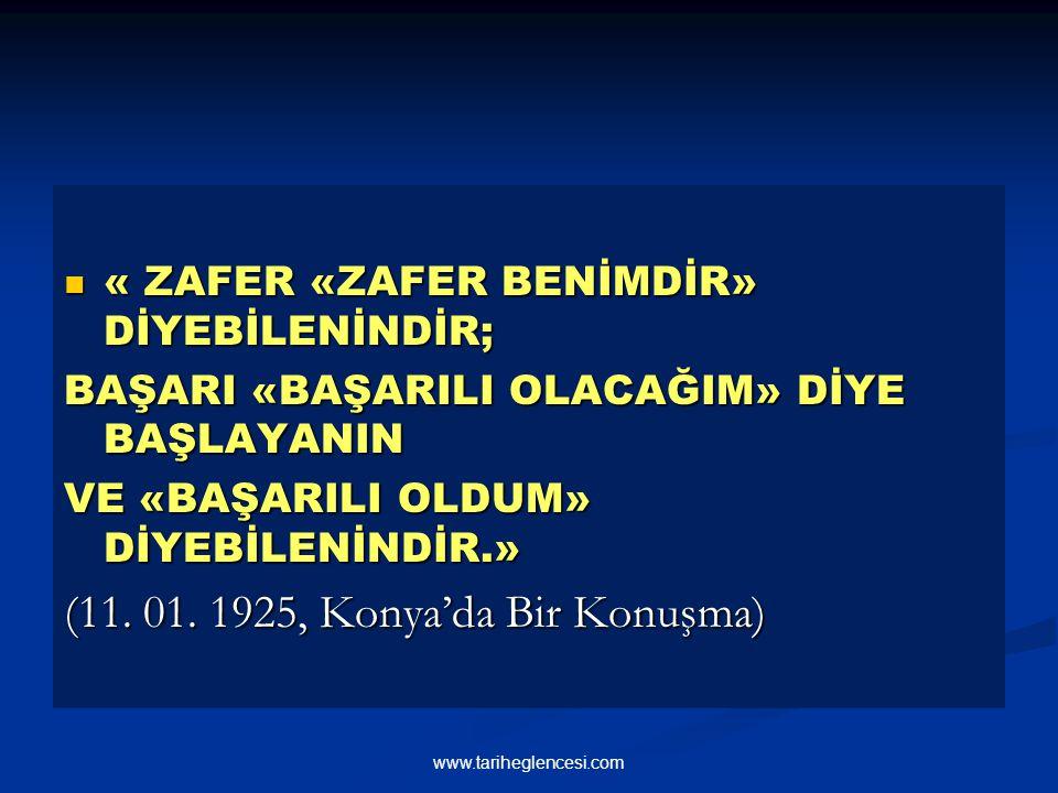 (11. 01. 1925, Konya'da Bir Konuşma)