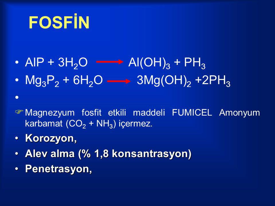 FOSFİN AlP + 3H2O Al(OH)3 + PH3 Mg3P2 + 6H2O 3Mg(OH)2 +2PH3 Korozyon,