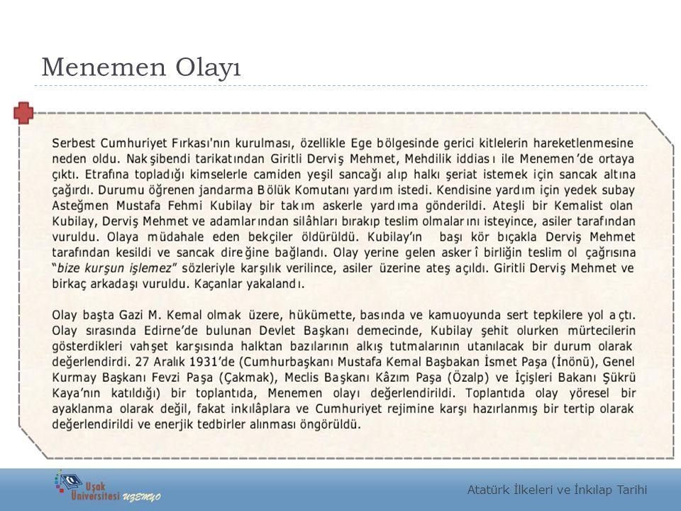 Menemen Olayı Atatürk İlkeleri ve İnkılap Tarihi
