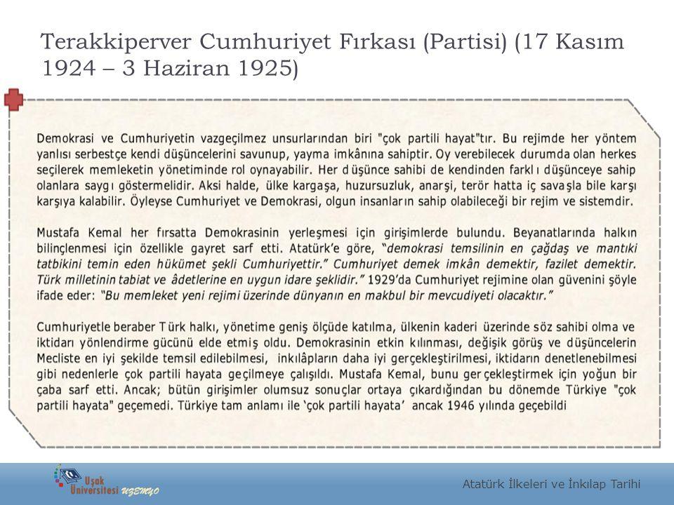 Terakkiperver Cumhuriyet Fırkası (Partisi) (17 Kasım 1924 – 3 Haziran 1925)
