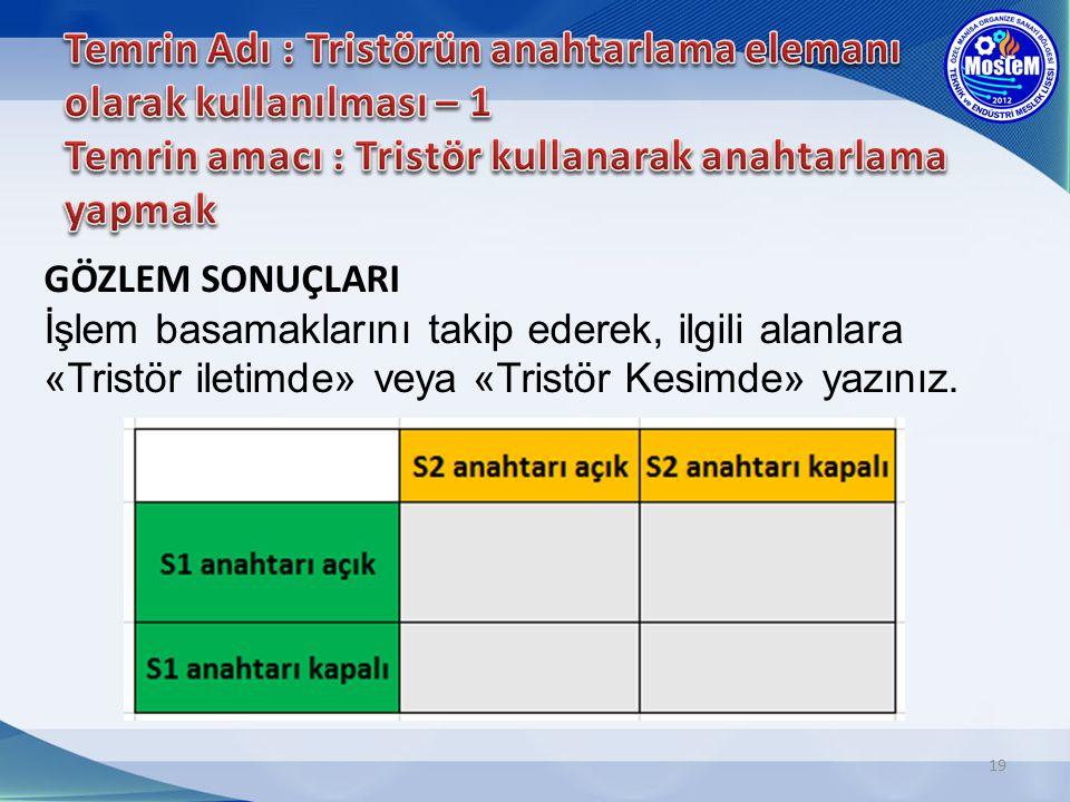 Temrin Adı : Tristörün anahtarlama elemanı olarak kullanılması – 1 Temrin amacı : Tristör kullanarak anahtarlama yapmak