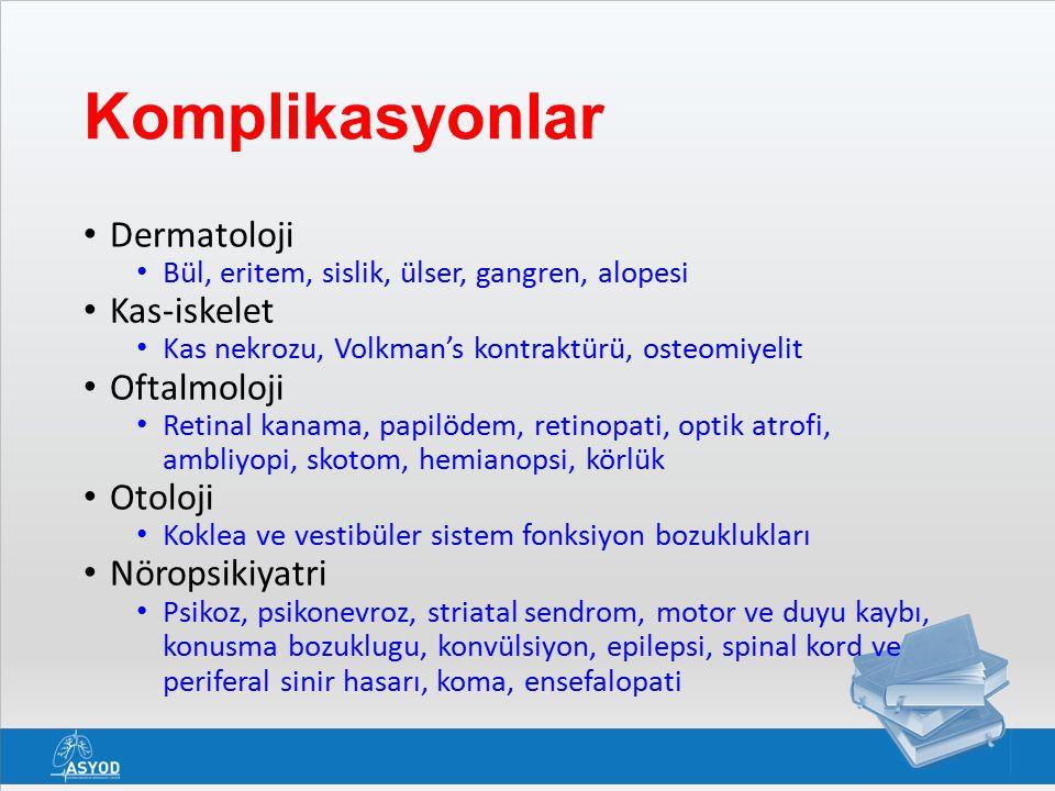 Komplikasyonlar Dermatoloji Kas-iskelet Oftalmoloji Otoloji