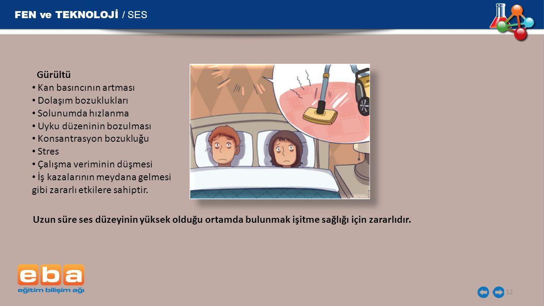 FEN ve TEKNOLOJİ / SES Gürültü Kan basıncının artması