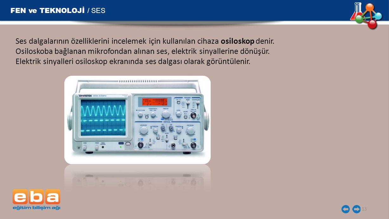 FEN ve TEKNOLOJİ / SES Ses dalgalarının özelliklerini incelemek için kullanılan cihaza osiloskop denir.