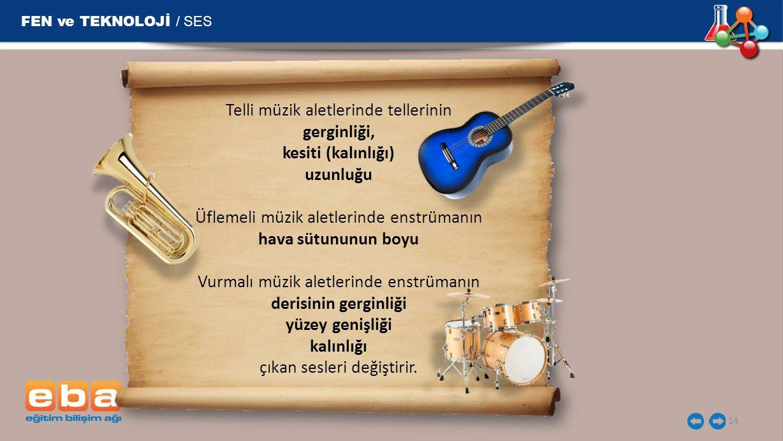 FEN ve TEKNOLOJİ / SES Telli müzik aletlerinde tellerinin gerginliği,