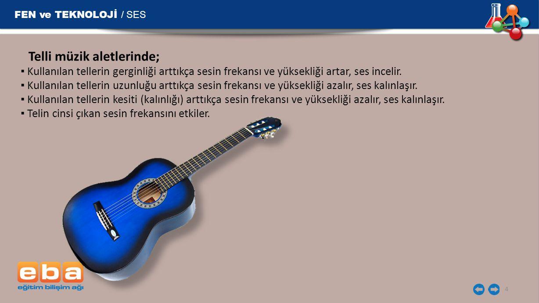 FEN ve TEKNOLOJİ / SES Telli müzik aletlerinde;