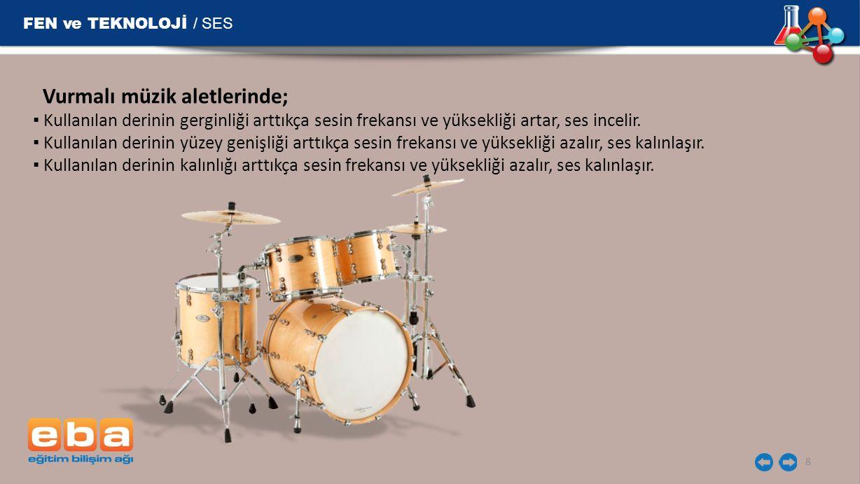 FEN ve TEKNOLOJİ / SES Vurmalı müzik aletlerinde;