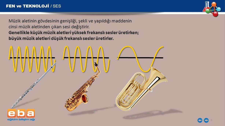 FEN ve TEKNOLOJİ / SES Müzik aletinin gövdesinin genişliği, şekli ve yapıldığı maddenin cinsi müzik aletinden çıkan sesi değiştirir.