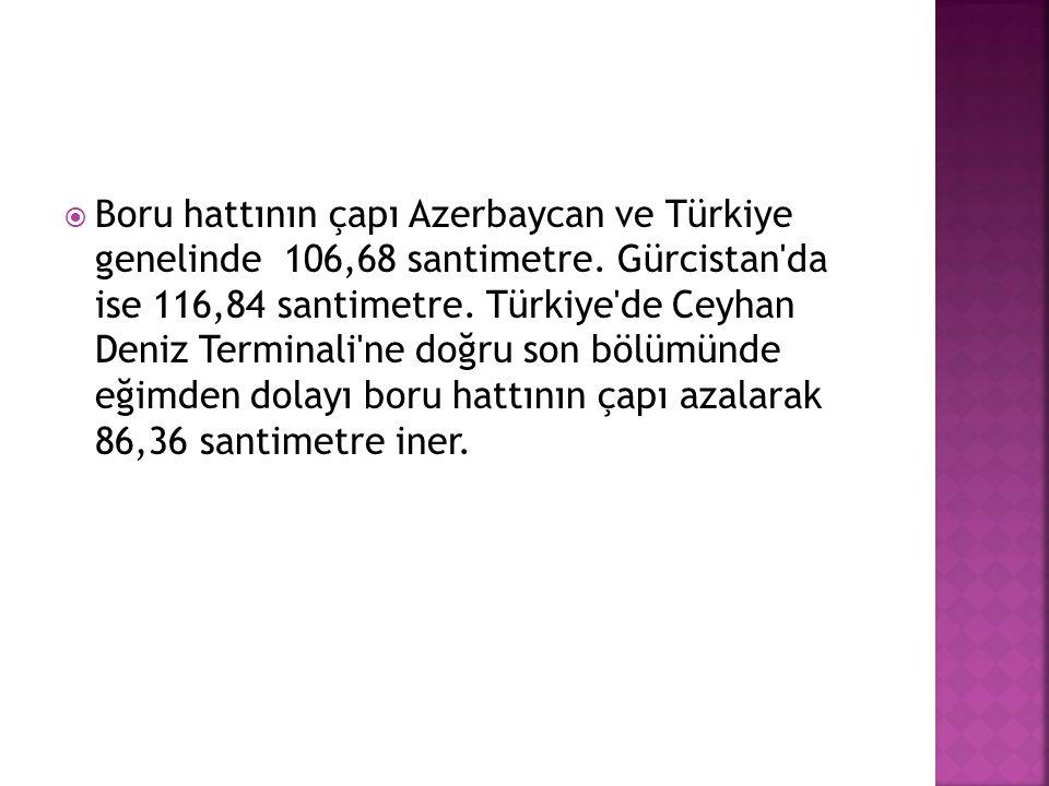 Boru hattının çapı Azerbaycan ve Türkiye genelinde 106,68 santimetre