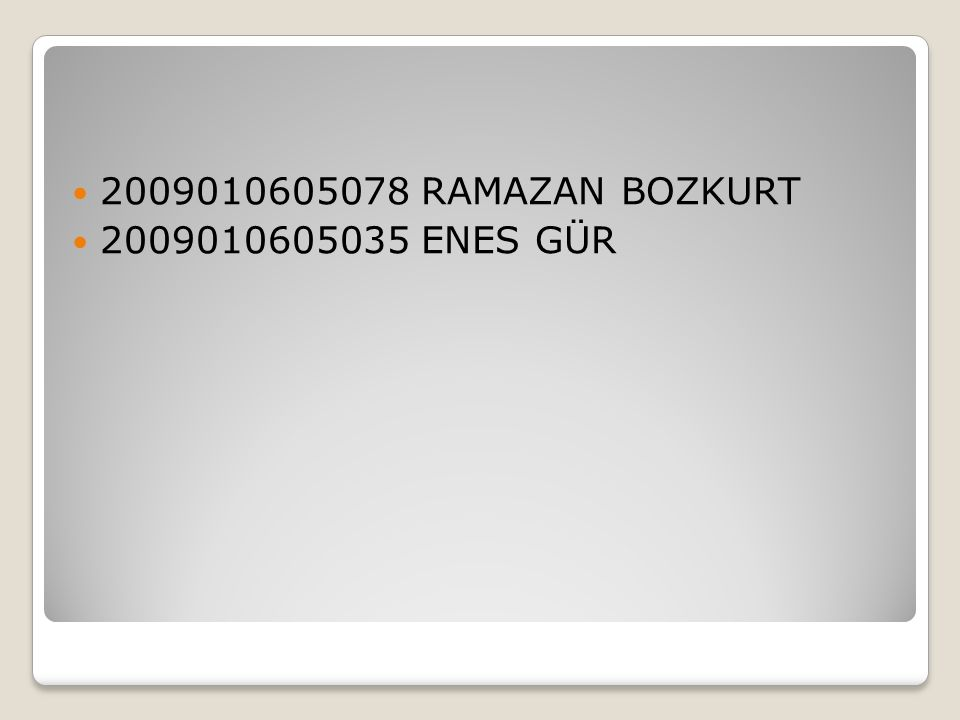 2009010605078 RAMAZAN BOZKURT 2009010605035 ENES GÜR