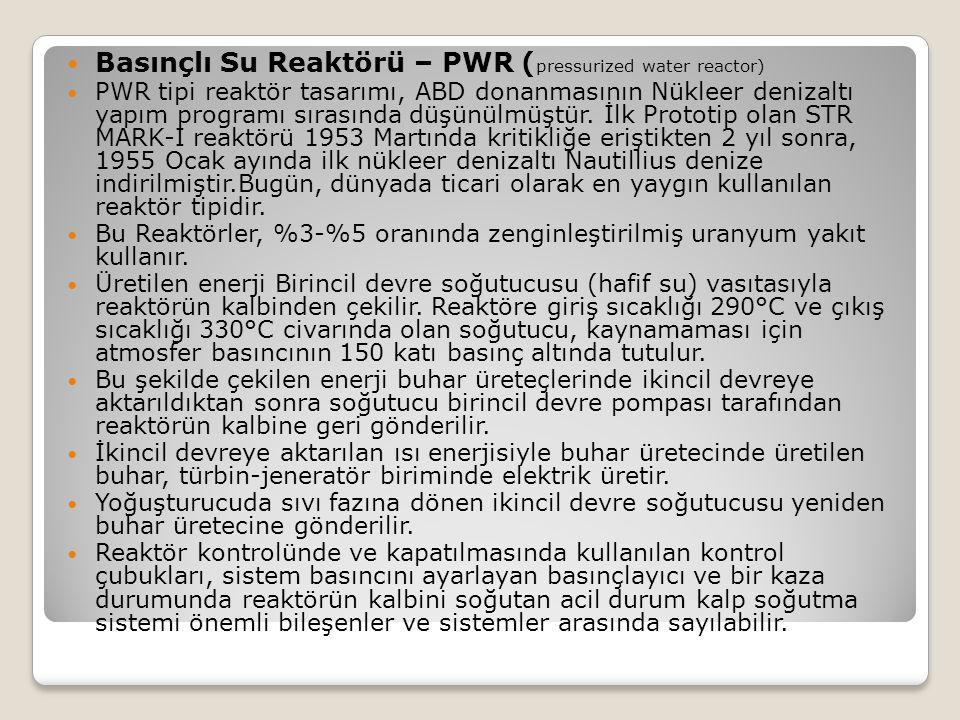 Basınçlı Su Reaktörü – PWR (pressurized water reactor)