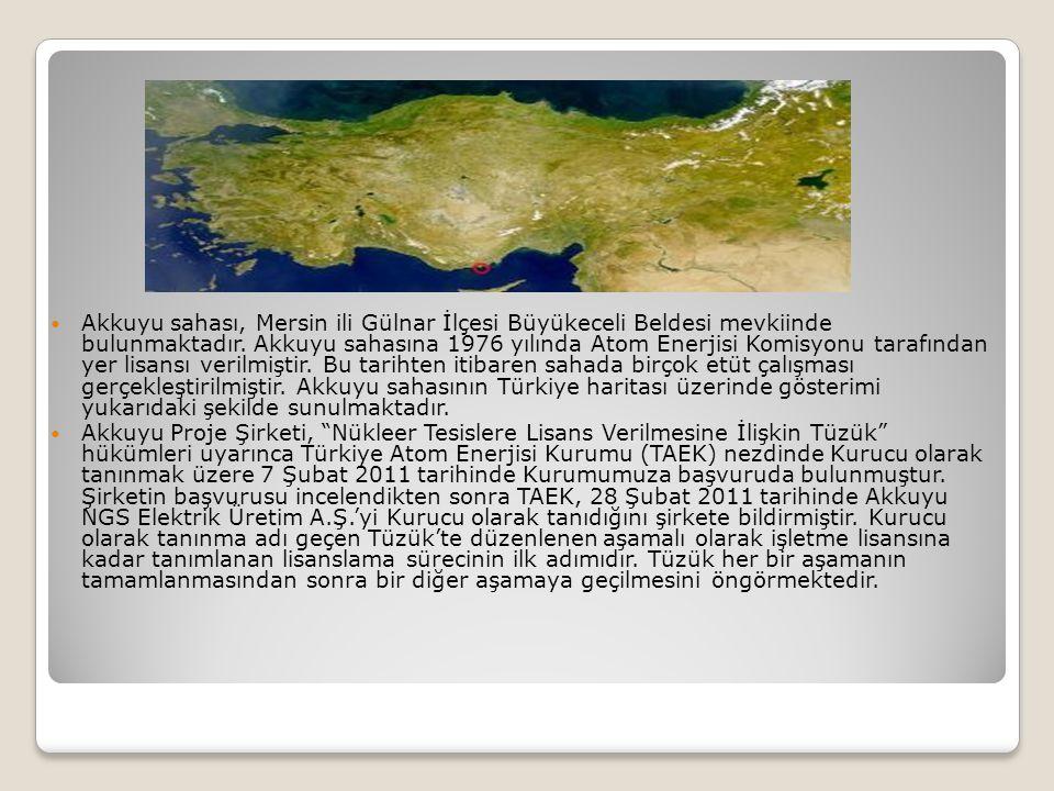 Akkuyu sahası, Mersin ili Gülnar İlçesi Büyükeceli Beldesi mevkiinde bulunmaktadır. Akkuyu sahasına 1976 yılında Atom Enerjisi Komisyonu tarafından yer lisansı verilmiştir. Bu tarihten itibaren sahada birçok etüt çalışması gerçekleştirilmiştir. Akkuyu sahasının Türkiye haritası üzerinde gösterimi yukarıdaki şekilde sunulmaktadır.